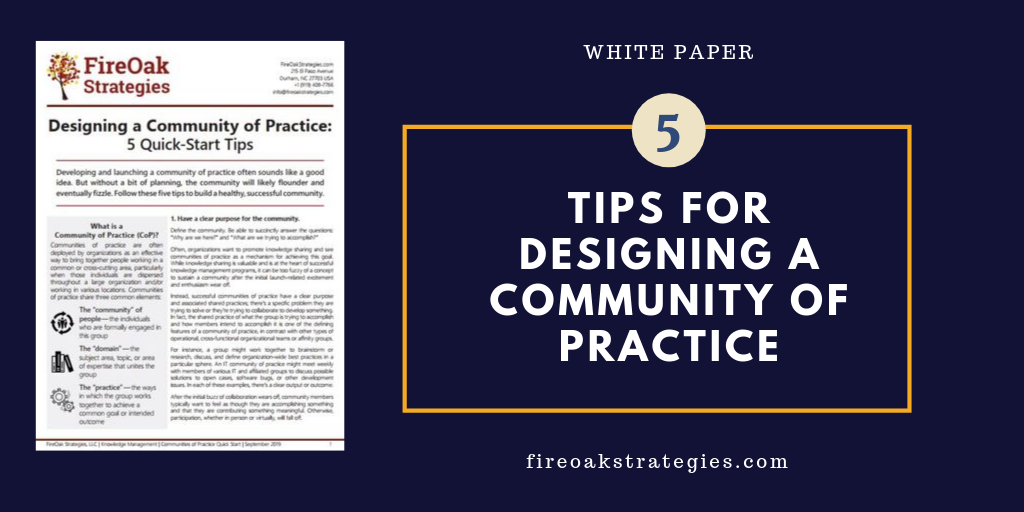 Designing a Community of Practice White Paper