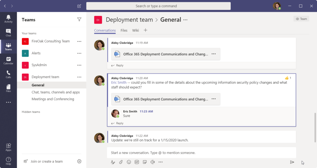 Office 365 for Knowledge Management - Conversation in Teams about a Word File
