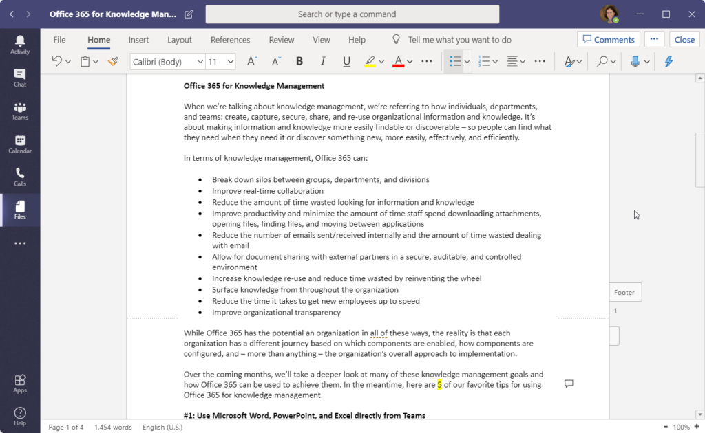 Office 365 for Knowledge Management -- Writing this article in Word via Teams